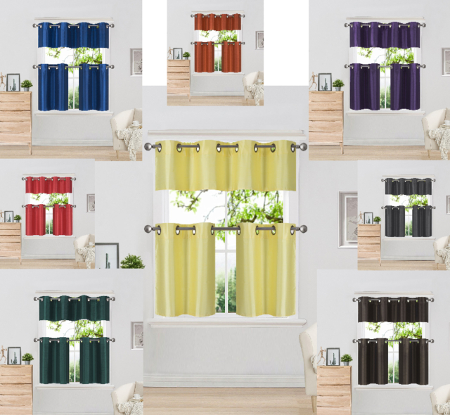 3 Piece Faux Silk Grommet Lined Thermal Blackout Kitchen Window Curtain Set For Faux Silk 3 Piece Kitchen Curtain Sets (View 9 of 25)