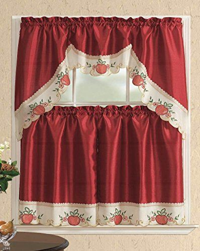 Featured Image of Red Delicious Apple 3 Piece Curtain Tiers