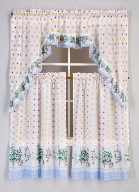 3 Piece Kitchen Curtain Set: 2 Tiers And 1 Valance ( Paris ) With Regard To Embroidered Floral 5 Piece Kitchen Curtain Sets (Photo 2 of 25)