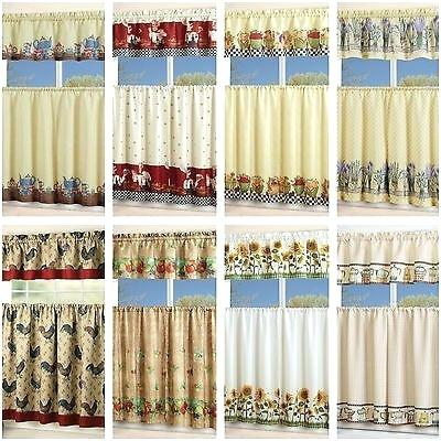 3 Piece Kitchen Curtain Set – Freddybeach.co In Sunflower Cottage Kitchen Curtain Tier And Valance Sets (Photo 25 of 25)