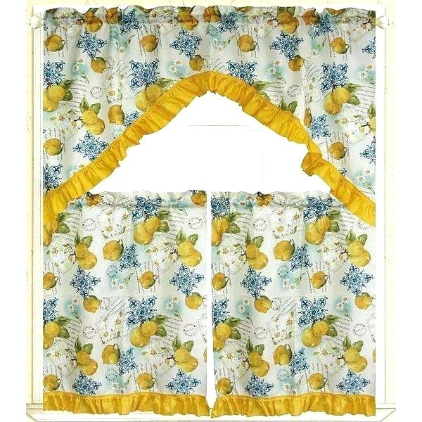 3 Piece Kitchen Curtain Set – Freddybeach.co Inside Floral Embroidered Sheer Kitchen Curtain Tiers, Swags And Valances (Photo 16 of 25)