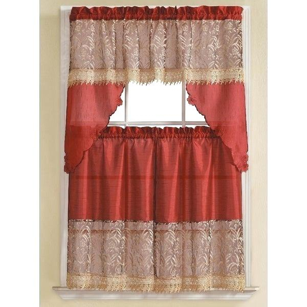 3 Piece Kitchen Curtain Set – Freddybeach.co Intended For Urban Embroidered Tier And Valance Kitchen Curtain Tier Sets (Photo 22 of 25)