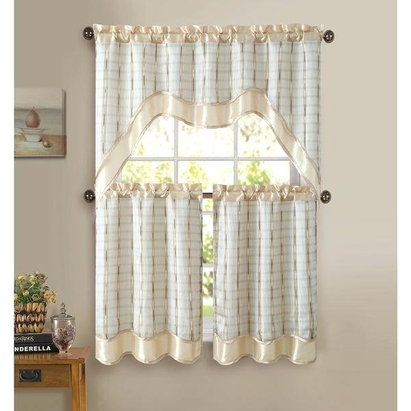 3 Piece Kitchen Curtain Set – Freddybeach.co Pertaining To Lodge Plaid 3 Piece Kitchen Curtain Tier And Valance Sets (Photo 25 of 25)