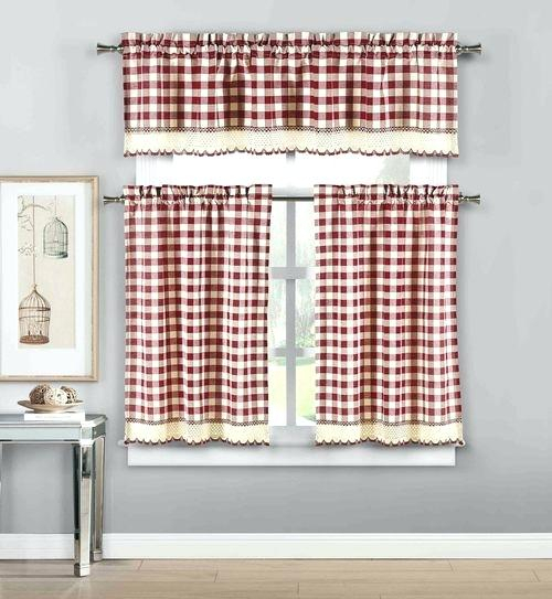 Featured Image of Lodge Plaid 3 Piece Kitchen Curtain Tier And Valance Sets