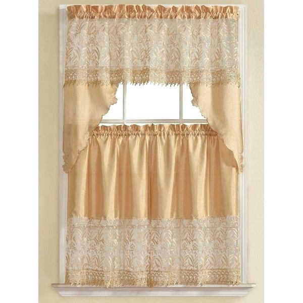 3 Piece Kitchen Curtain Set – Freddybeach.co Within Urban Embroidered Tier And Valance Kitchen Curtain Tier Sets (Photo 14 of 25)