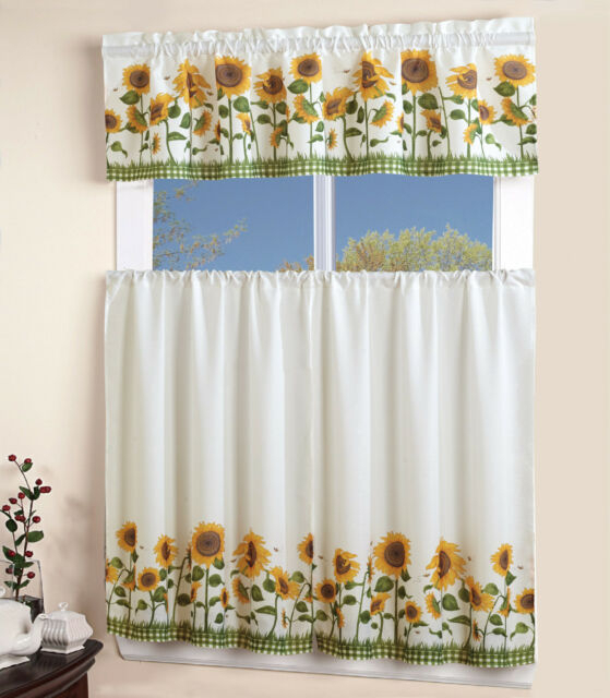 3 Piece Kitchen Curtain With Swag And Tier Window Treatment Set Chef Sunflower Pertaining To Chocolate 5 Piece Curtain Tier And Swag Sets (View 18 of 25)