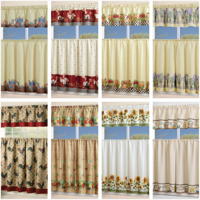 3 Piece Kitchen Curtain With Swag And Tier Window Treatment Set Chef  Sunflower Within Chocolate 5 Piece Curtain Tier And Swag Sets (Photo 1 of 25)
