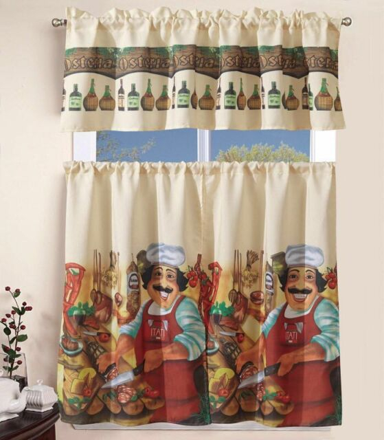 3 Piece Kitchen Curtain With Swag And Tier Window Treatment Set Tuscany For Grace Cinnabar 5 Piece Curtain Tier And Swag Sets (View 6 of 25)