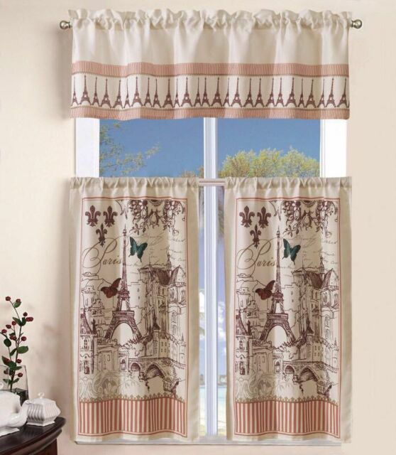 3 Piece Kitchen Curtain With Swag And Tier Window Treatment Set Tuscany Pertaining To Grace Cinnabar 5 Piece Curtain Tier And Swag Sets (Photo 3 of 25)