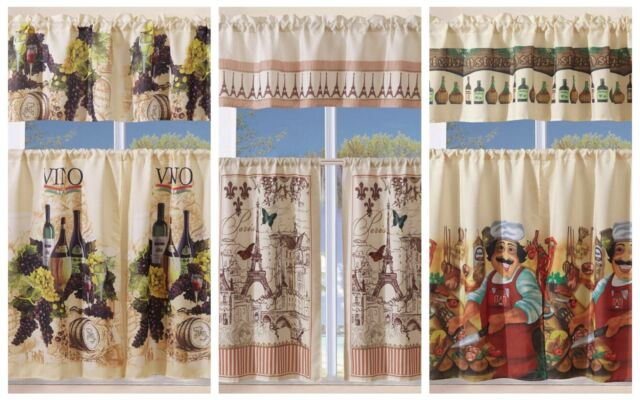 3 Piece Kitchen Curtain With Swag And Tier Window Treatment Set Tuscany Pertaining To Grace Cinnabar 5 Piece Curtain Tier And Swag Sets (Photo 1 of 25)