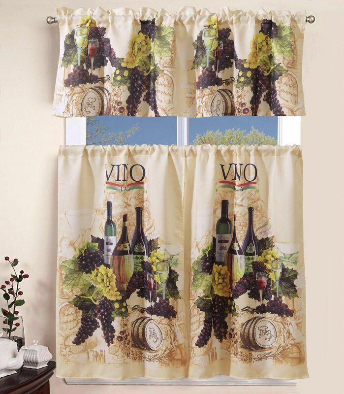 3 Piece Kitchen Curtain With Swag And Tier Window Treatment Set Tuscany With Grace Cinnabar 5 Piece Curtain Tier And Swag Sets (View 8 of 25)