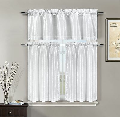3 Piece Pleated Ruffle Faux Silk Solid Kitchen Window For Faux Silk 3 Piece Kitchen Curtain Sets (View 15 of 25)