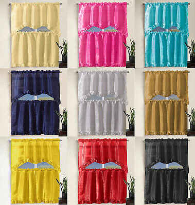 3 Piece Pleated Ruffle Faux Silk Solid Kitchen Window In Pleated Curtain Tiers (Photo 4 of 25)