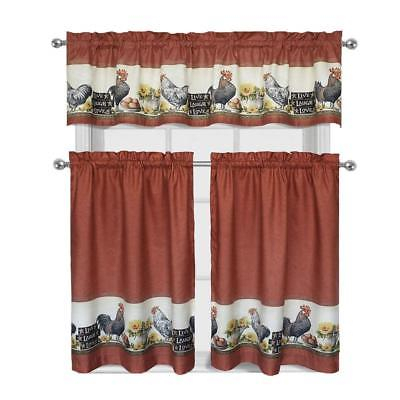 3 Piece Rooster Window Treatment Kitchen Curtain Tier & Valance Set | Ebay With Regard To Red Delicious Apple 3 Piece Curtain Tiers (Photo 24 of 25)