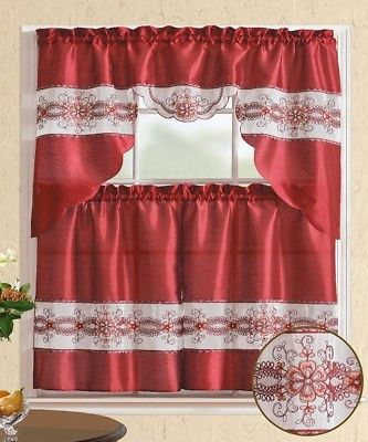 3 Pieces Embroidery Burgundy Flower Kitchen/cafe Curtain Tier And Swag Set 741459043117 | Ebay Pertaining To Coffee Embroidered Kitchen Curtain Tier Sets (View 6 of 25)