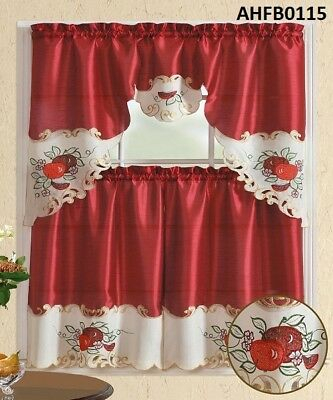 3 Pieces Embroidery Red Apple+Green Leaf Kitchen/cafe Regarding Scroll Leaf 3 Piece Curtain Tier And Valance Sets (View 17 of 25)