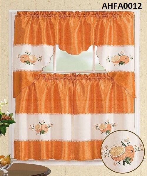 3 Pieces Ivory Embroidery Orange Fruit Kitchen/cafe Curtain Tier And Swag Set In Coffee Embroidered Kitchen Curtain Tier Sets (View 4 of 25)
