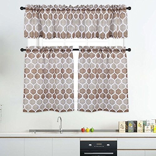 3 Pieces Tier Curtains And Valances Set, Moroccan Tile Print Kitchen/cafe  Window Curtain Sets, Tailored Drapery Lattice Pattern Curtains For  Bathroom, Intended For Window Curtain Tier And Valance Sets (Image 4 of 25)