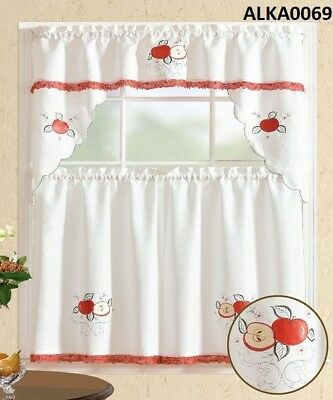 3 Pieces White Embroidery Red Apple Kitchen/cafe Curtain Within Delicious Apples Kitchen Curtain Tier And Valance Sets (Image 2 of 25)