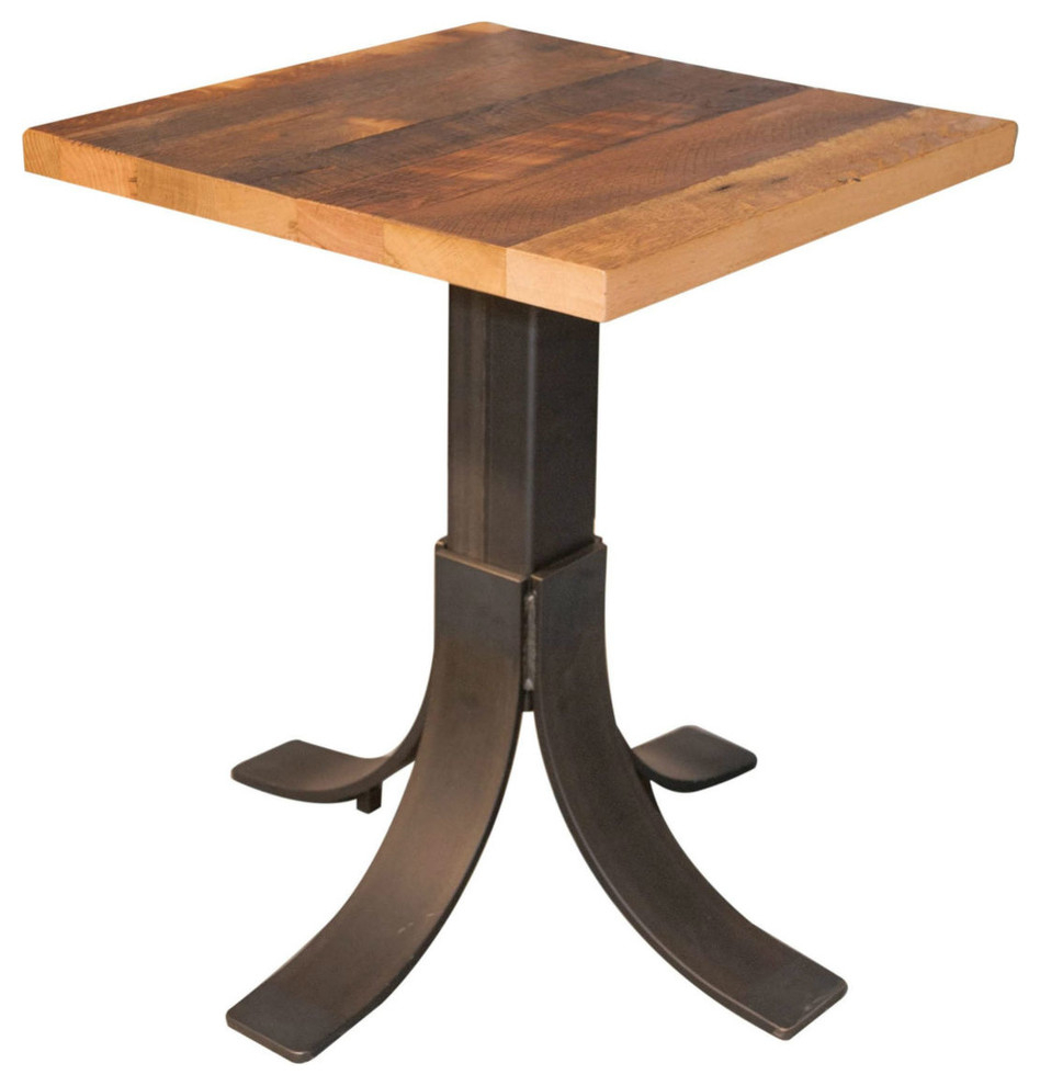 30X30 Reclaimed Barnwood Dining Table, Metal Pedestal Base, Restaurant Grade With Recent Bowry Reclaimed Wood Dining Tables (View 15 of 25)