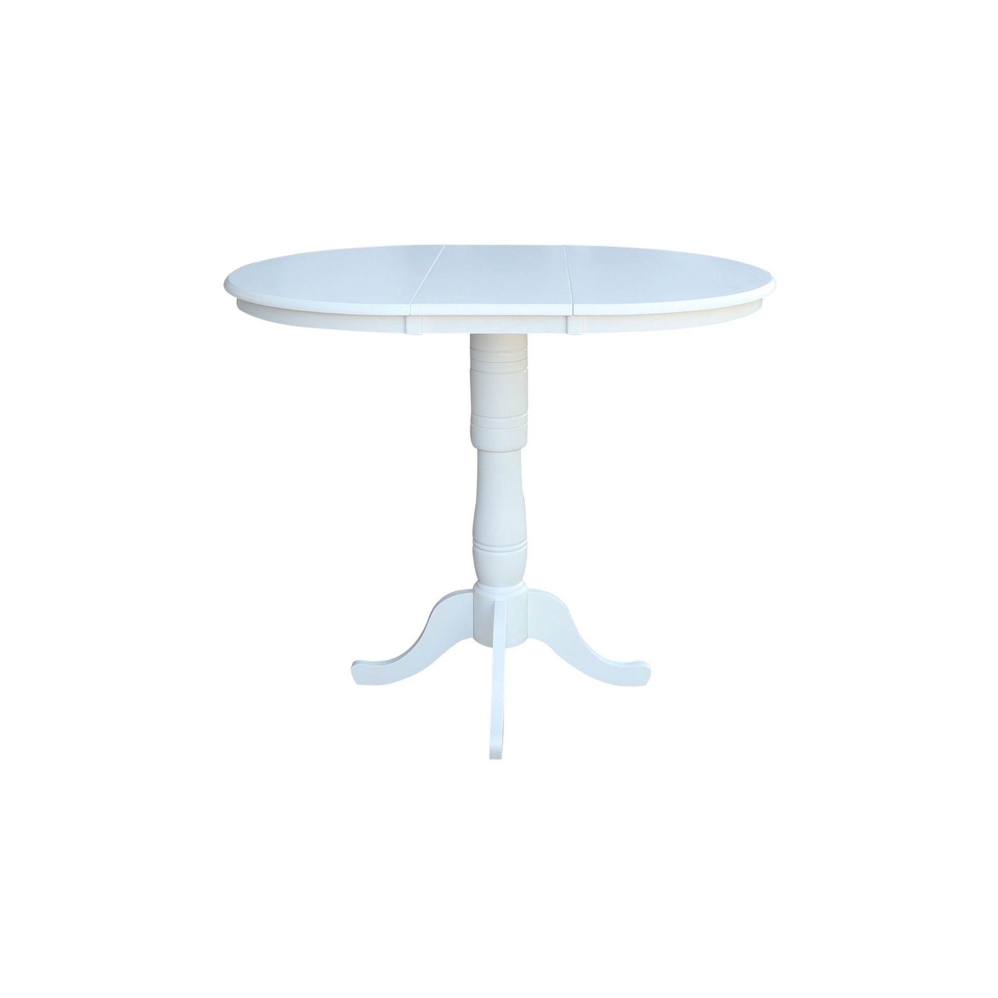 """36"""" Kyle Round Top Pedestal Table With 12"""" Leaf Bar Height Intended For Recent Cleary Oval Dining Pedestal Tables (View 2 of 25)"""