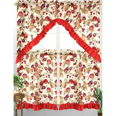 3Pc Diana Kitchen Curtain Tier Swag Red Ruffle Border Mixed Fruit Apple  Print 815634062948 | Ebay In Top Of The Morning Printed Tailored Cottage Curtain Tier Sets (Photo 7 of 25)