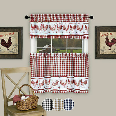 3Pc Kitchen Curtain Set, Check Gingham Plaid Rooster, Tier Panels And Valance With Regard To Lemon Drop Tier And Valance Window Curtain Sets (View 23 of 25)