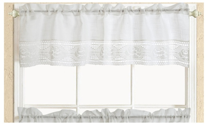 3Pc Solid White Lace Kitchen Curtain Tiers & Swag Set Throughout Kitchen Curtain Tiers (Photo 16 of 25)
