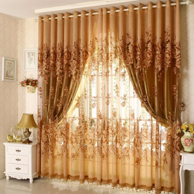 3Pcs Set Curtains Blackout Vintage Lace Curtain Transparent Printing For Bedroom Window Kitchen Ladder Belt Curtain Inside Window Curtains Sets With Colorful Marketplace Vegetable And Sunflower Print (View 6 of 25)