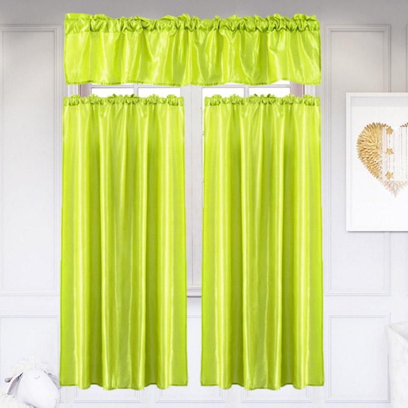 3Pcs/set Pure Color Kitchen Home Curtain Inside Chardonnay Tier And Swag Kitchen Curtain Sets (View 10 of 25)