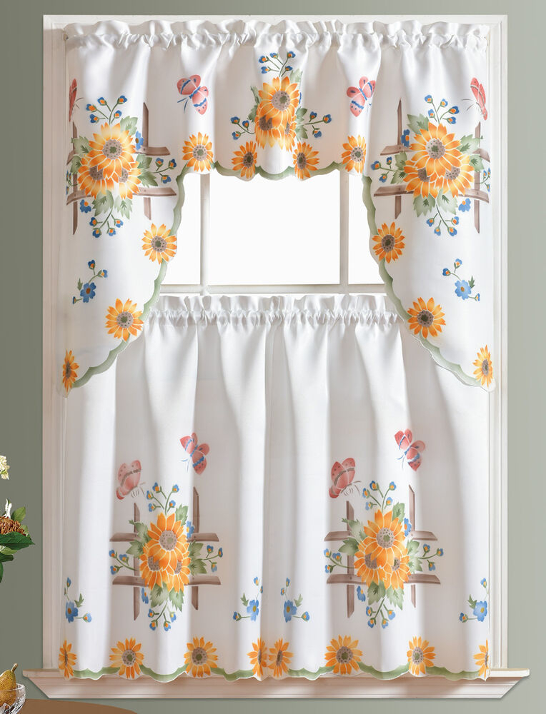 3Pcs Thick Kitchen Curtain Set, Spray Painted Of Sunflower & Butterfly  Design | Ebay Within Hopscotch 24 Inch Tier Pairs In Neutral (Photo 8 of 25)