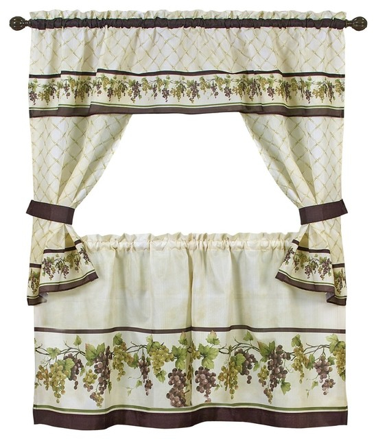 4 Piece Cottage Window Set, Curtains, Tiers And Ruffled Swag, Tuscany Regarding Traditional Two Piece Tailored Tier And Valance Window Curtains (View 20 of 25)