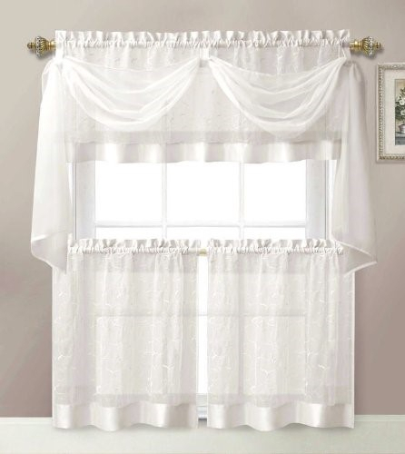 4 Pieces Linen Leaf Embroidery Kitchen Curtain Set 2 Tiers Intended For Maize Vertical Ruffled Waterfall Valance And Curtain Tiers (Image 2 of 25)