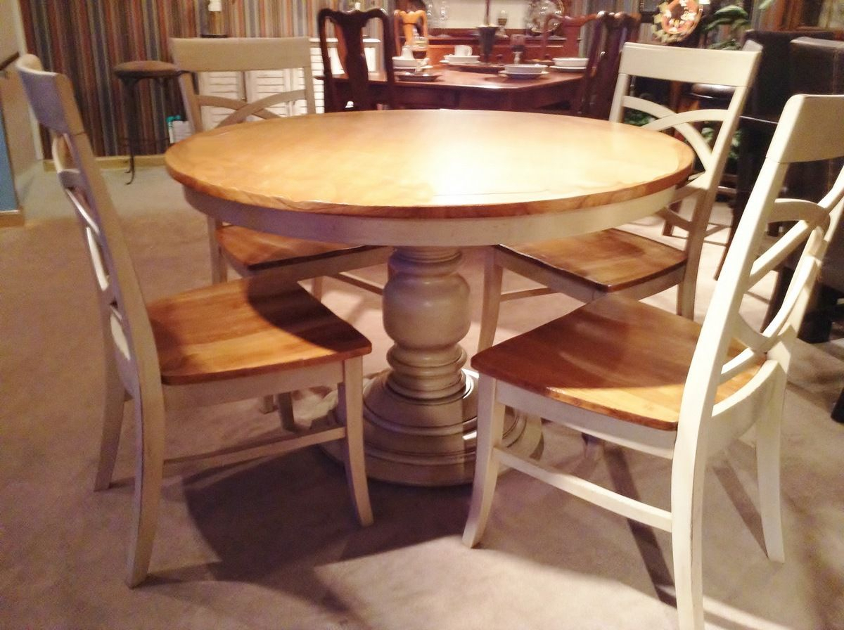 48 Inch Round Pedestal Dining Table | Farmhouse Style Dining Within Current Dawson Pedestal Dining Tables (Image 2 of 25)