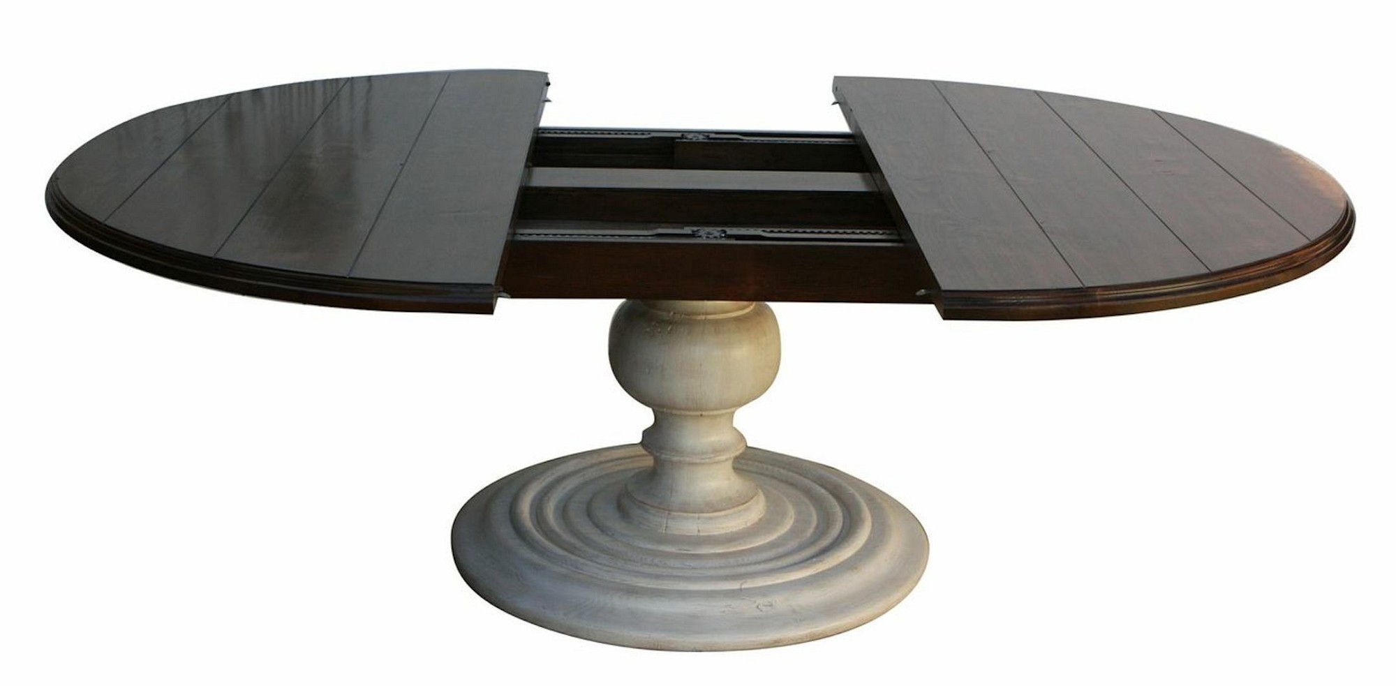 48 Round Pedestal Dining Table For Small Dining Room Spaces With Most Up To Date Blackened Oak Benchwright Pedestal Extending Dining Tables (View 8 of 25)