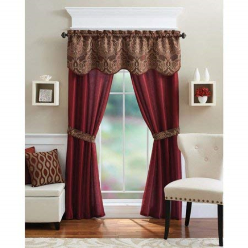 5 Piece Curtain Panel Set Elegant Red Curtains Home Living Room Bedroom Kitchen Pertaining To Embroidered Floral 5 Piece Kitchen Curtain Sets (View 15 of 25)