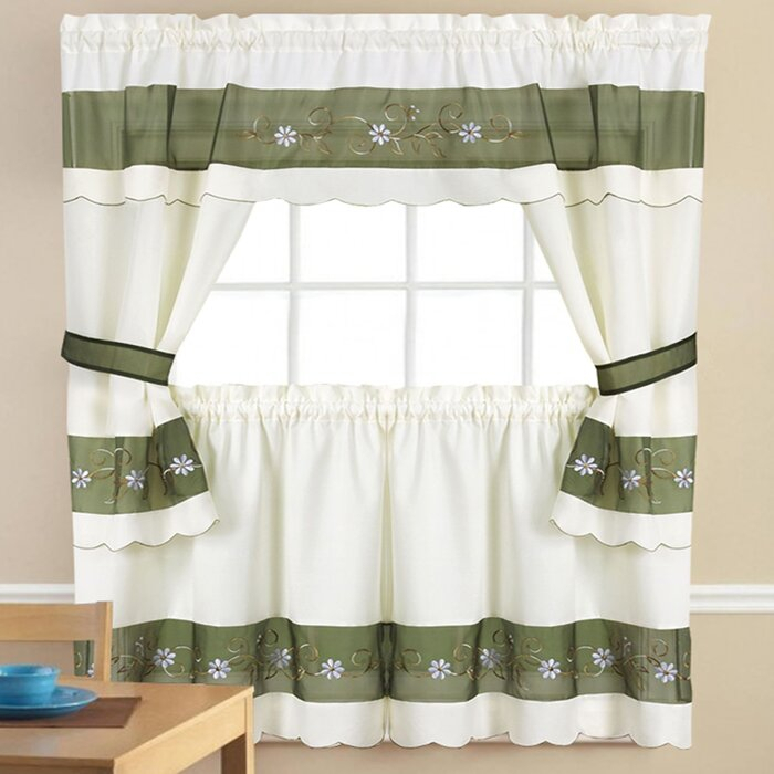 5 Piece Kitchen Curtain Pertaining To Chocolate 5 Piece Curtain Tier And Swag Sets (View 7 of 25)