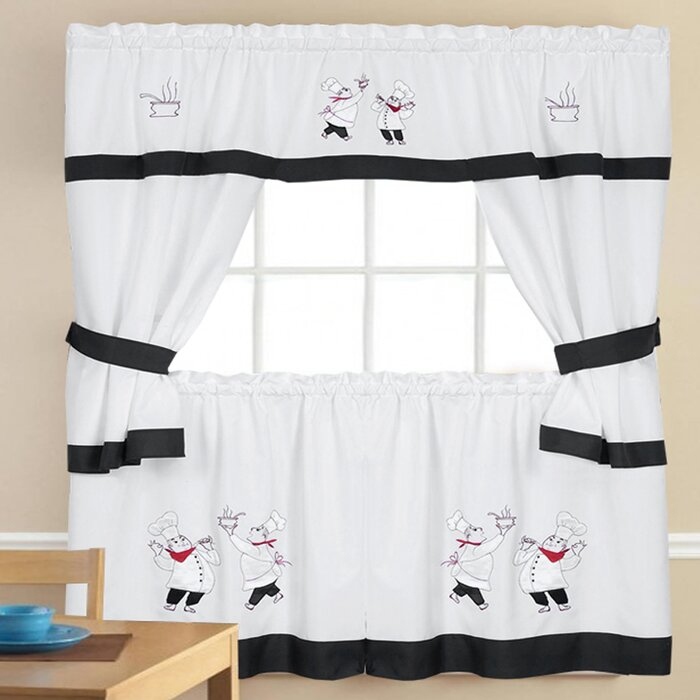 5 Piece Kitchen Curtain Set With Regard To Urban Embroidered Tier And Valance Kitchen Curtain Tier Sets (View 24 of 25)