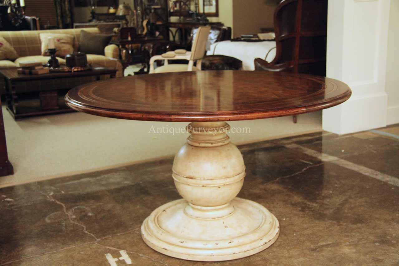 54 Inch Round Country Kitchen Table With Distressed Painted Pedestal With Newest Alexandra Round Marble Pedestal Dining Tables (View 21 of 25)