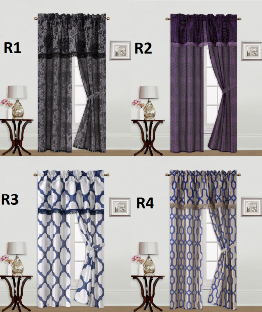 5Pc Set Solid Rod Pocket Window Curtain With Valance And Tie Back Knight Pertaining To Live, Love, Laugh Window Curtain Tier Pair And Valance Sets (View 7 of 25)