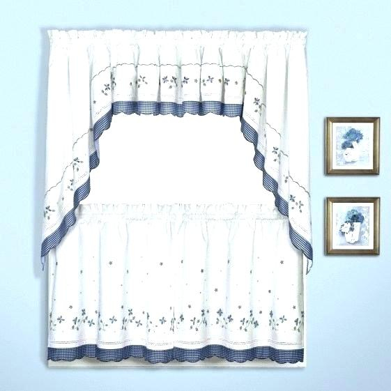 6 Piece Curtain Set Blue Kitchen Curtains Cafe Window With Coffee Embroidered Kitchen Curtain Tier Sets (View 21 of 25)