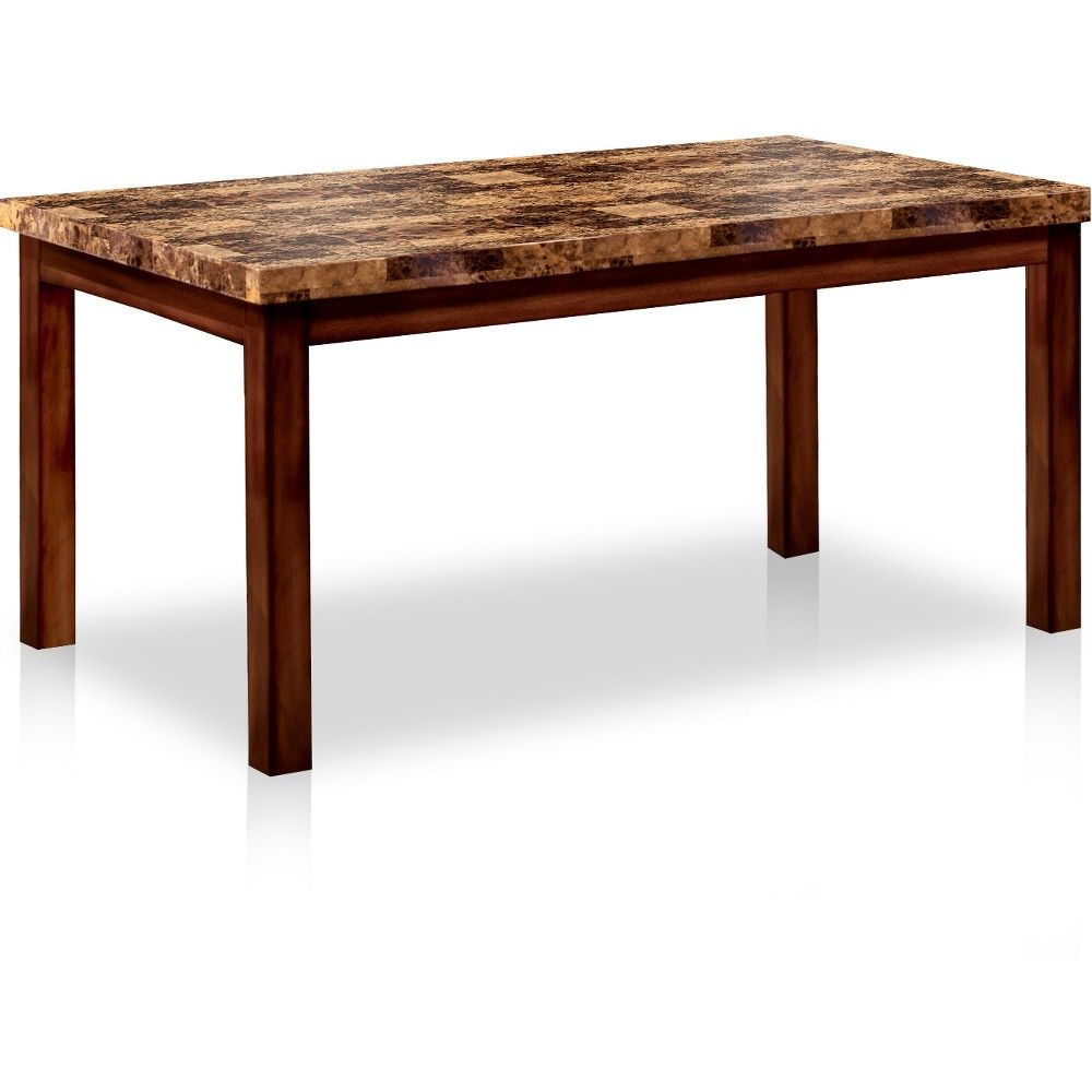 """60"""" Roshella Faux Marble Top Dining Table Dark Oak – Sun For Newest Bismark Dining Tables (View 16 of 25)"""
