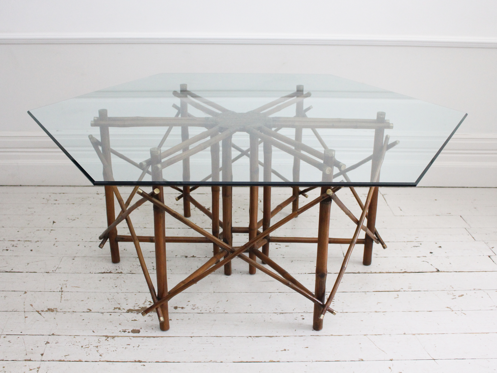 A 1960'S John Wisner For Ficks Reed Bamboo, Brass & Glass Hexagonal Dining Table Regarding Most Popular Reed Extending Dining Tables (View 18 of 25)