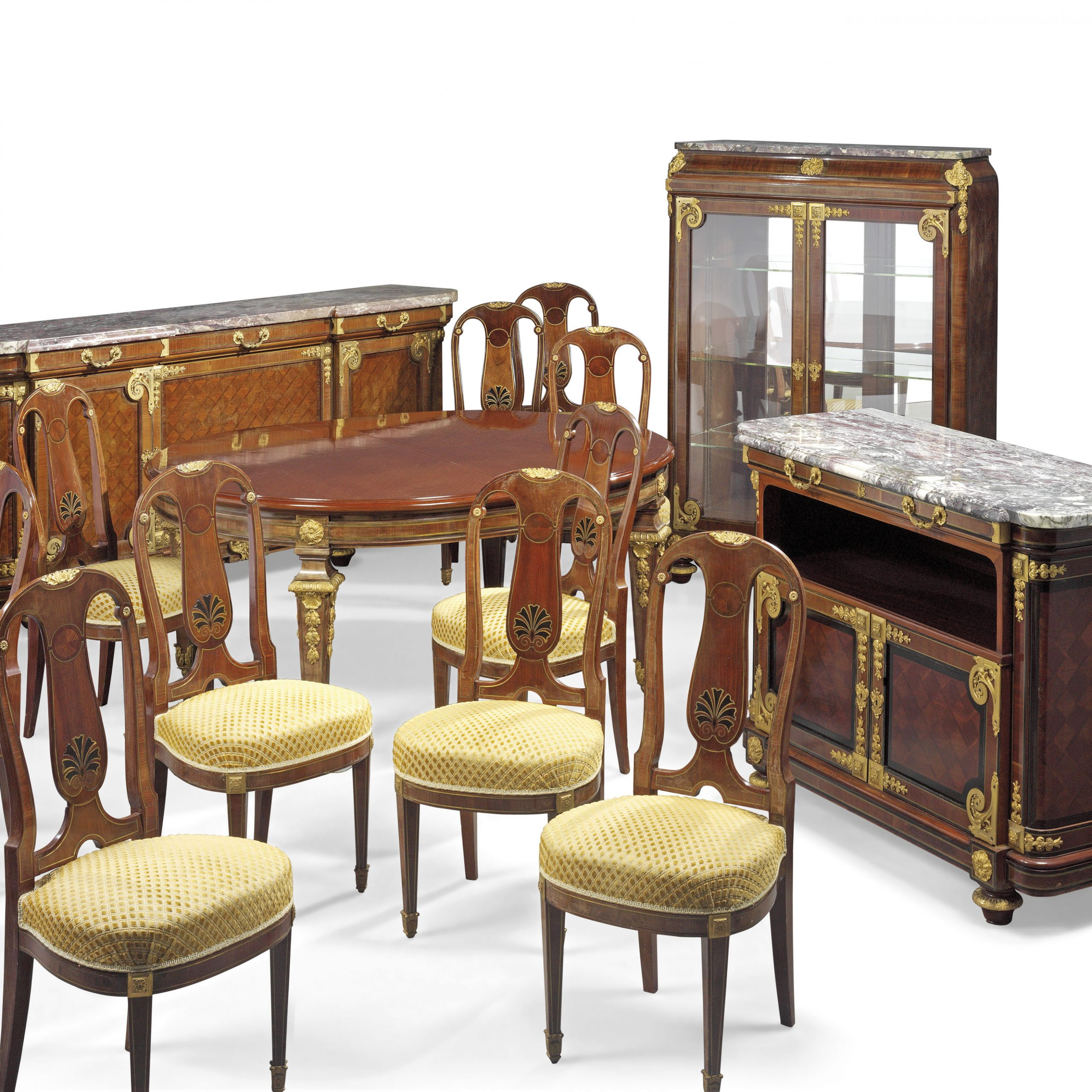 A French Ormolu Mounted Mahogany And Bois Satine Fourteen Inside Most Recent Christie Round Marble Dining Tables (View 16 of 25)