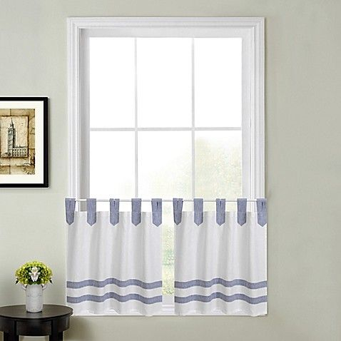 Acadia Striped Kitchen Window Curtain Tier Pair | Curtains Pertaining To Dove Gray Curtain Tier Pairs (View 10 of 25)