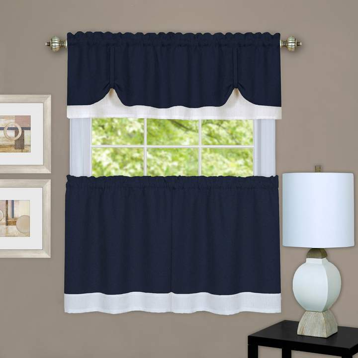 Achim 3 Piece Darcy Tier & Valance Kitchen Window Curtain Within Grace Cinnabar 5 Piece Curtain Tier And Swag Sets (View 7 of 25)