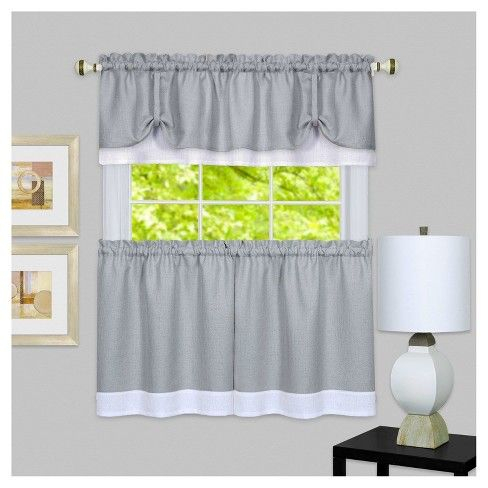 Achim 58 X24 Darcy Window Curtain Tier And Valance Set Gray For Dakota Window Curtain Tier Pair And Valance Sets (View 2 of 25)