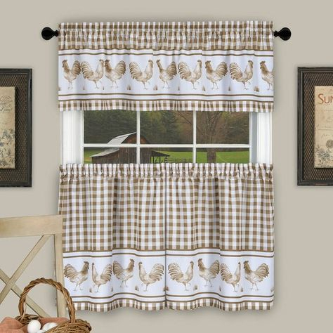 Achim Barnyard Rooster Plaid Tier & Valance Kitchen Curtain Within Lodge Plaid 3 Piece Kitchen Curtain Tier And Valance Sets (View 15 of 25)