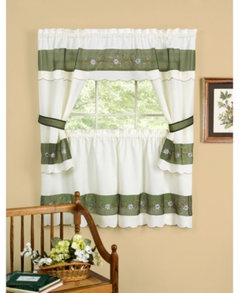 Achim Berkshire Embellished Cottage Window Curtain Set For Dakota Window Curtain Tier Pair And Valance Sets (View 15 of 25)