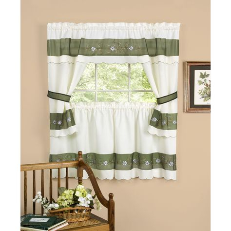 Achim Berkshire Window Curtain Cottage Set | Overstock In Cotton Blend Ivy Floral Tier Curtain And Swag Sets (View 5 of 25)